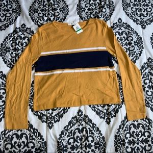 Planet Gold Long Sleeve Crop Top